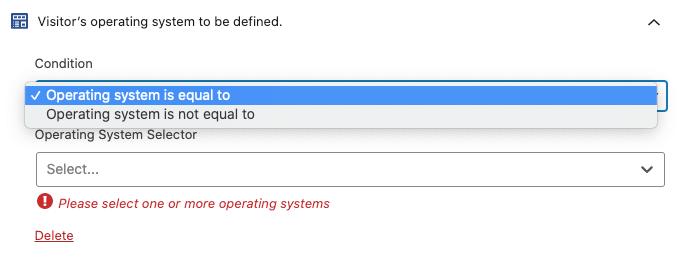 Condiciones de la regla de segmentación de sistema operativo.