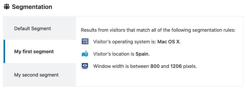 En los resultados del test A/B puedes seleccionar el segmento concreto de visitantes del que quieres ver los resultados.
