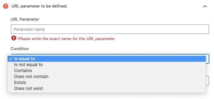 Condiciones disponibles en la regla de segmentación de parámetro en la URL.