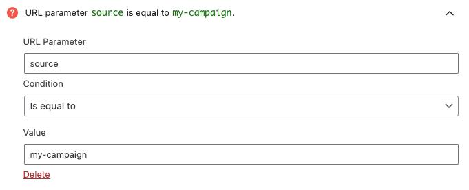 Ejemplo de configuración de la regla de segmentación de parámetro en la URL.