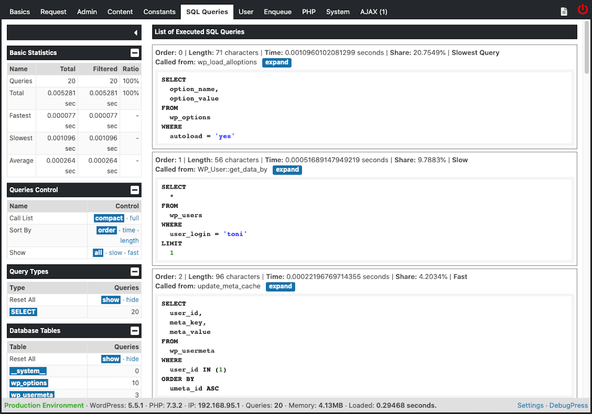 Panel de SQL Queries de DebugPress.