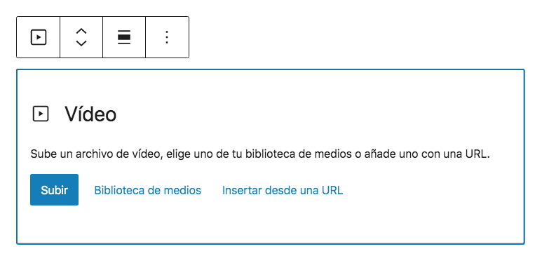 Añadir video desde el editor de bloques.