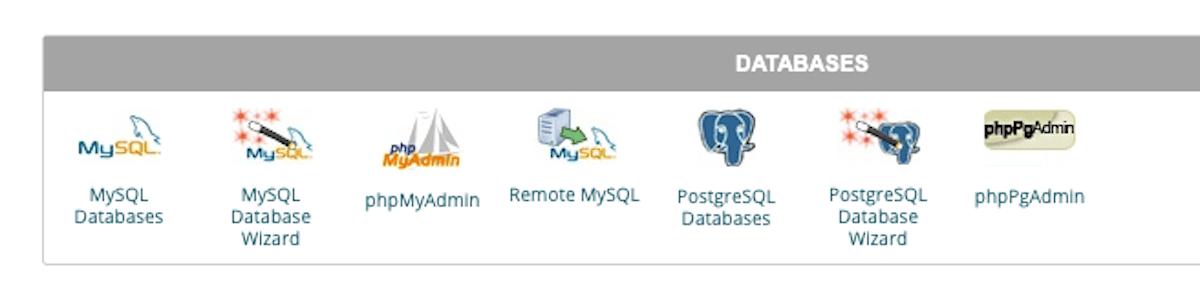 Sección de bases de datos dentro de cPanel.