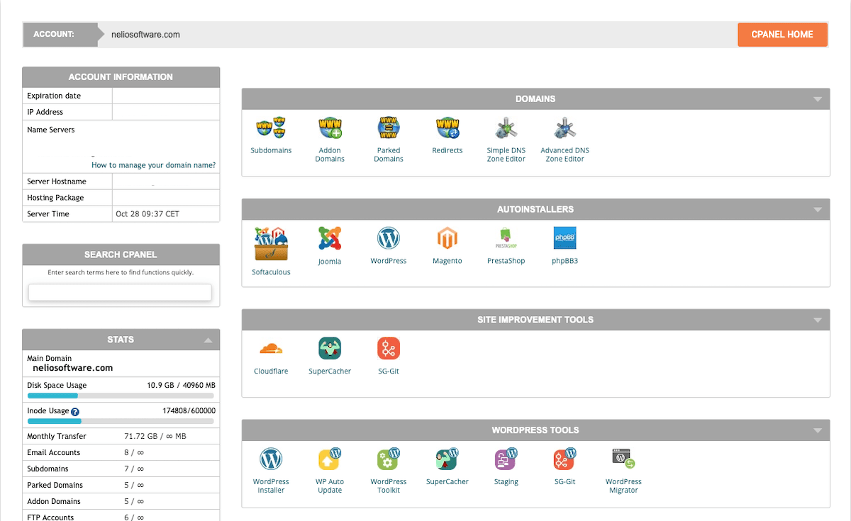 CPanel graphical interface, to manage different tools of your hosting.