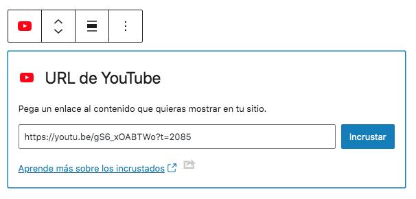 Insertar vídeo de YouTube