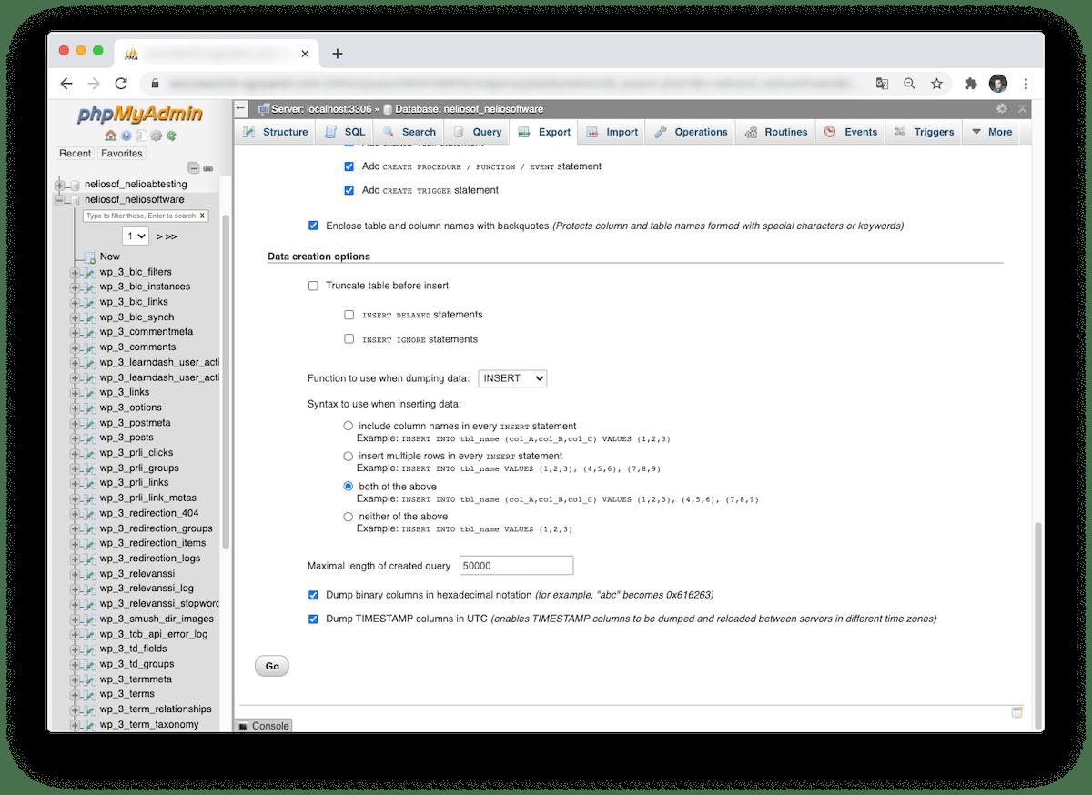 Ajustes adicionales cuando seleccionamos la opción custom al exportar.