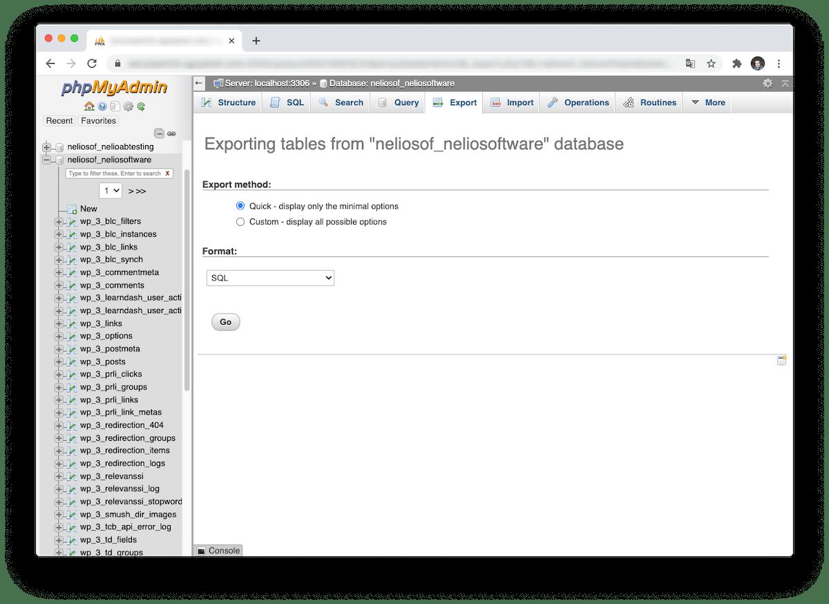 Menú de exportación de una base de datos en phpMyAdmin.