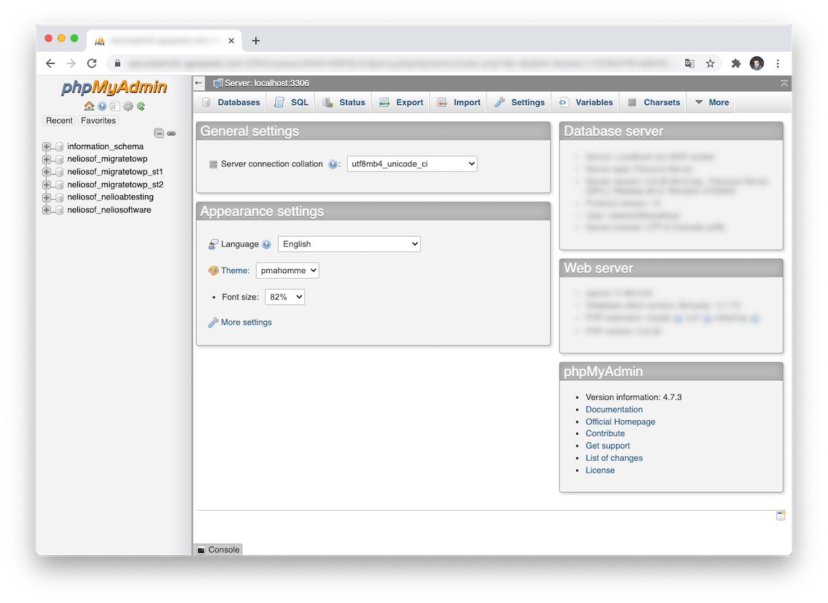phpMyAdmin is a tool for managing databases through the web.
