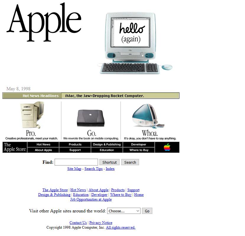 Apple's website in 1998