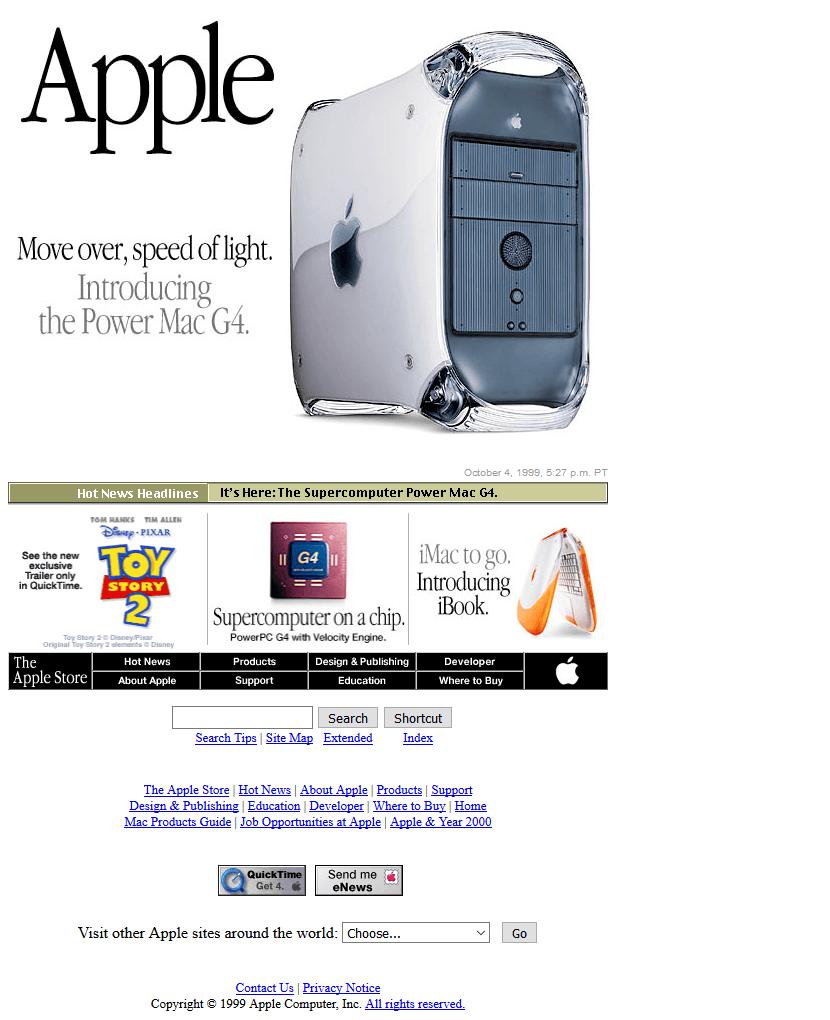 Apple's website in 1999