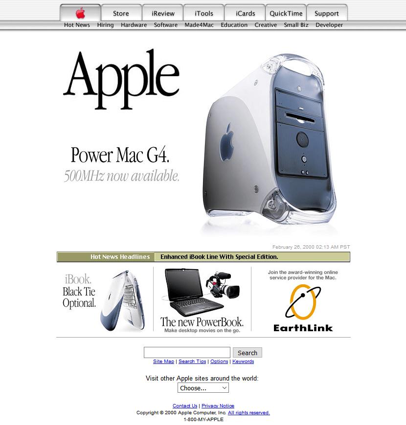 Apple's website in 2000