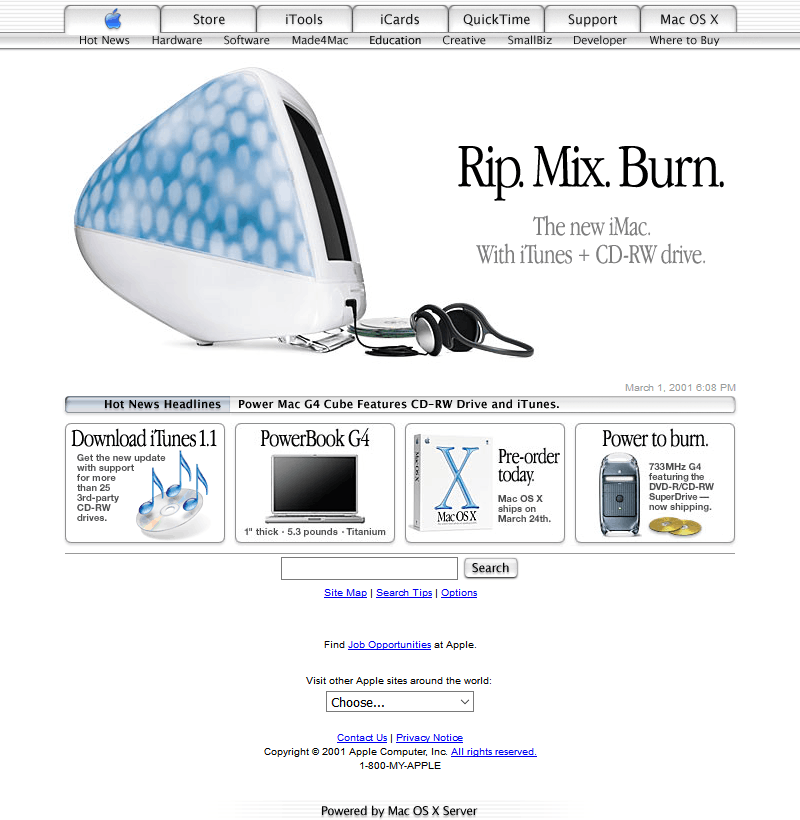 Apple's website in 2001