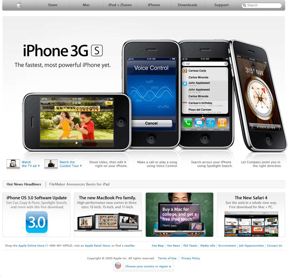 Apple's website in 2009