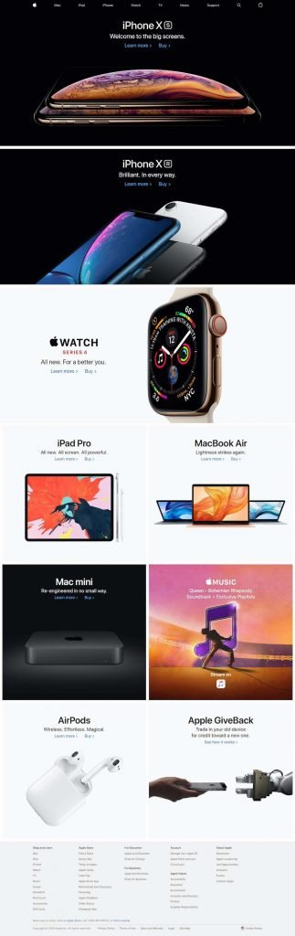 Apple's website in 2018