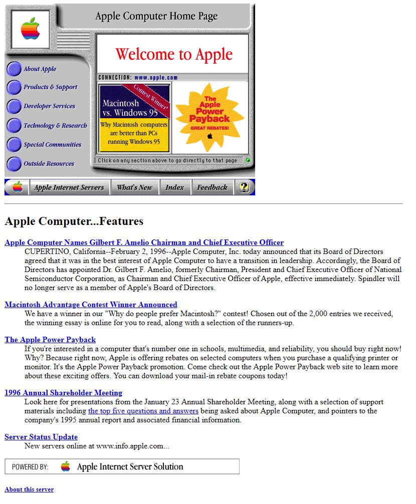 Apple's website in 1996