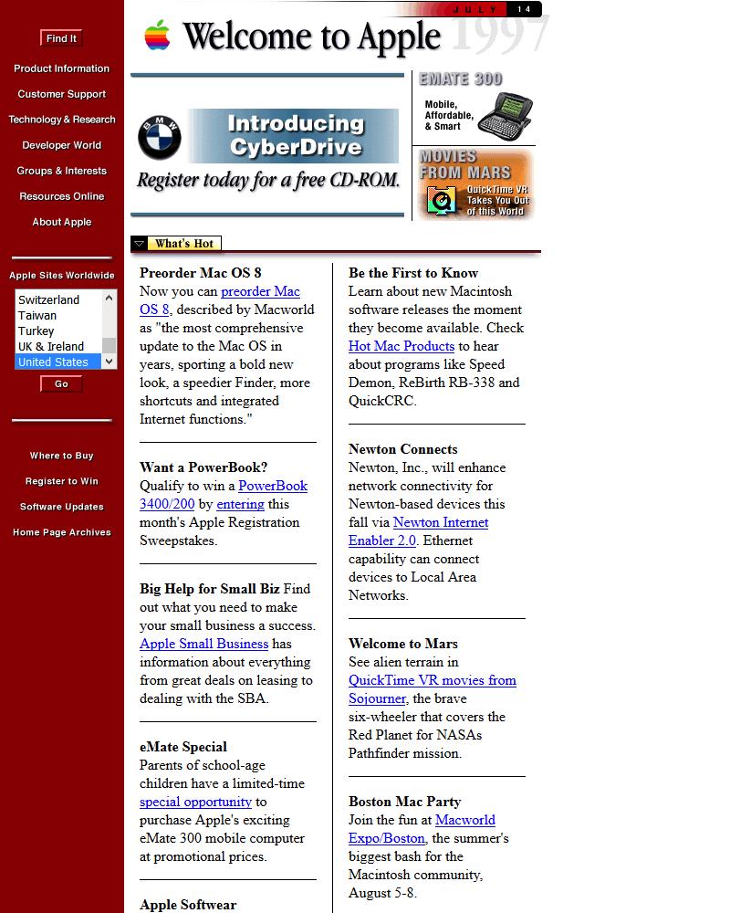 Apple's website in 1997