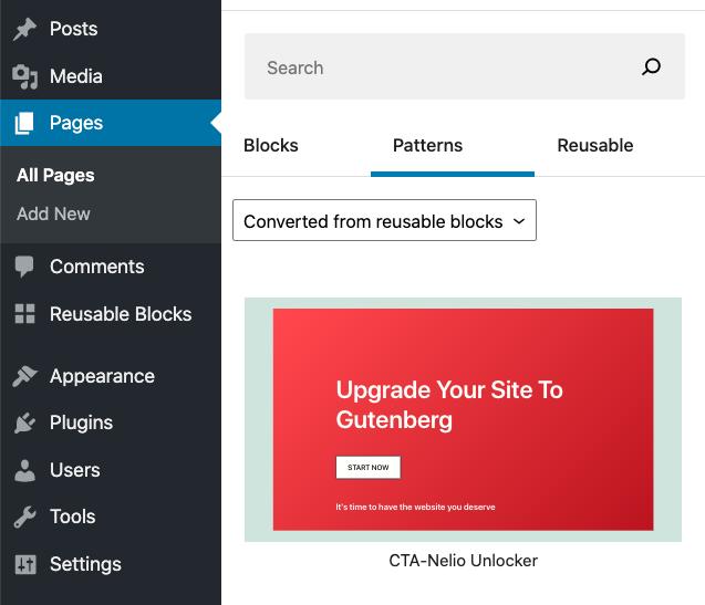 Captura de pantalla de la creación de un patrón de bloques a partir de un bloque reutilizable con Gutenberg