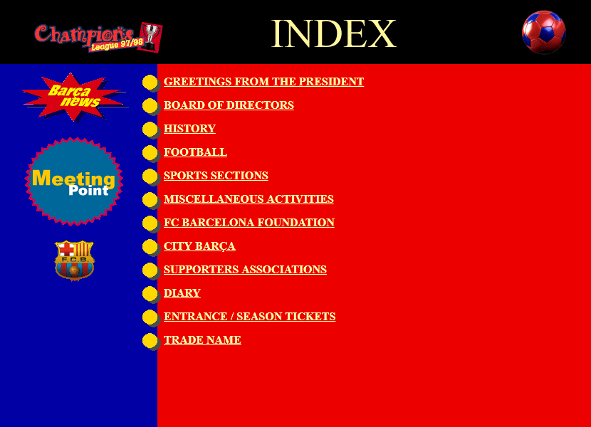 FC Barcelona website in 1998.