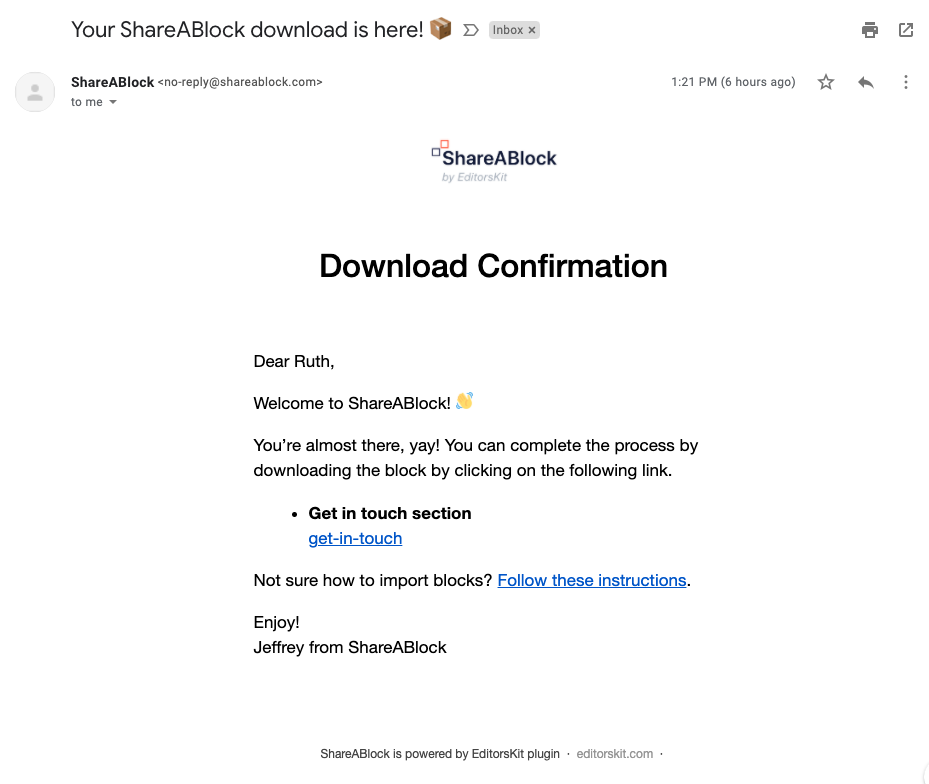 Shareablock mail with download link.