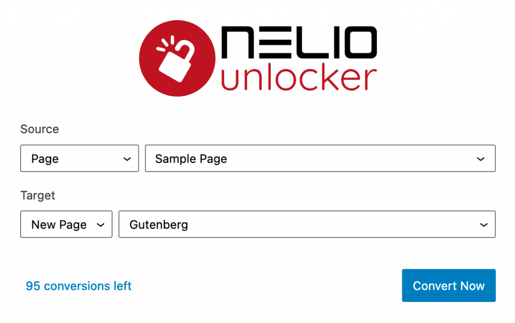 Screenshot of the Nelio Unlocker user interface.