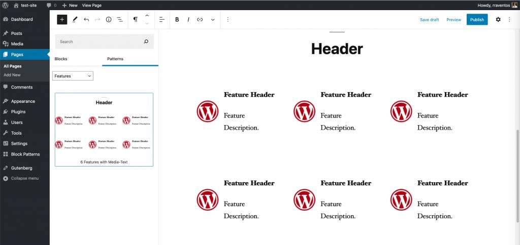 Captura de pantalla de un patrón creado con Gutenberg y disponible en el editor de páginas