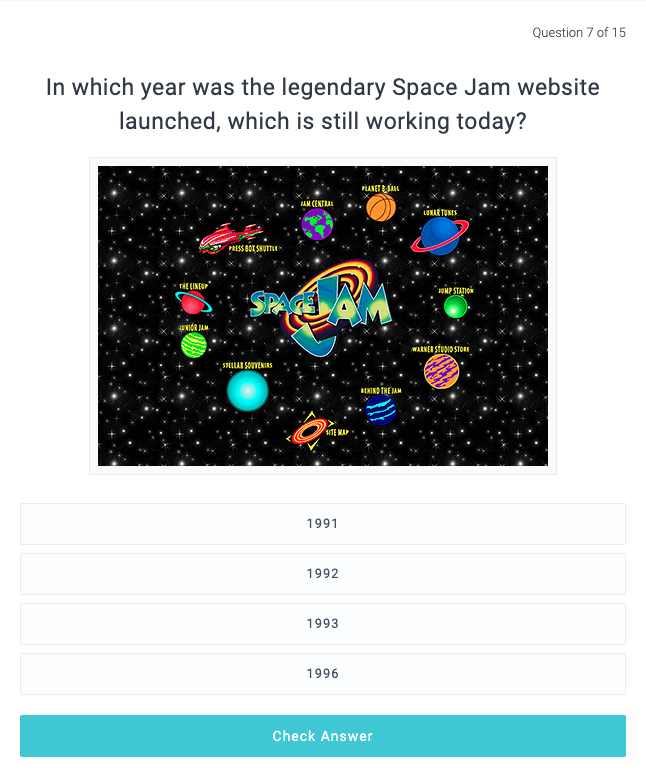 Screenshot of a quizz asking you when Space Jam's website was launched