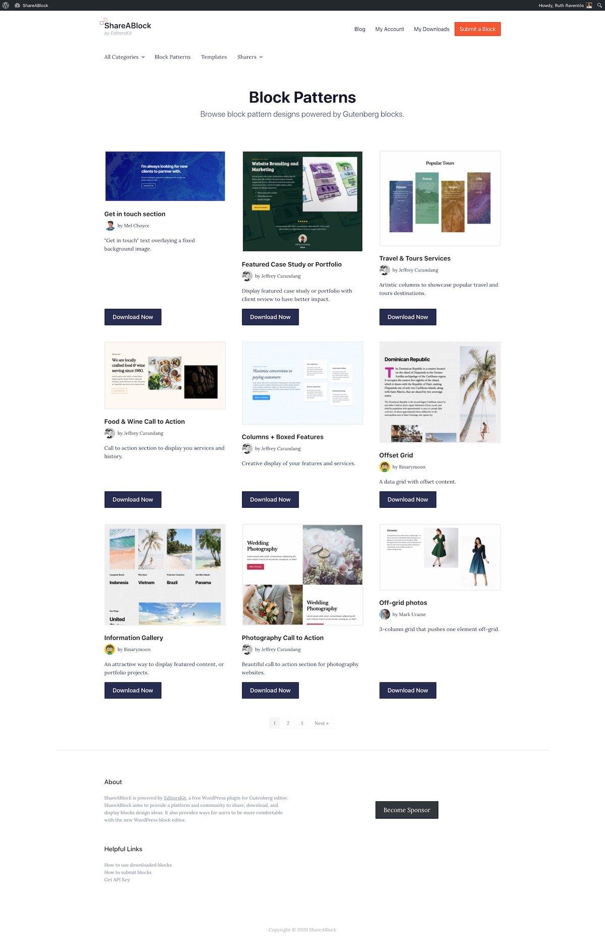 Screenshot of the Shareablock website