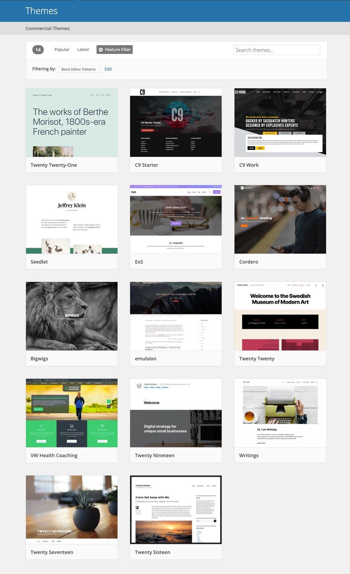 Temas del directorio de WordPress.org que incluyen patrones de bloques.
