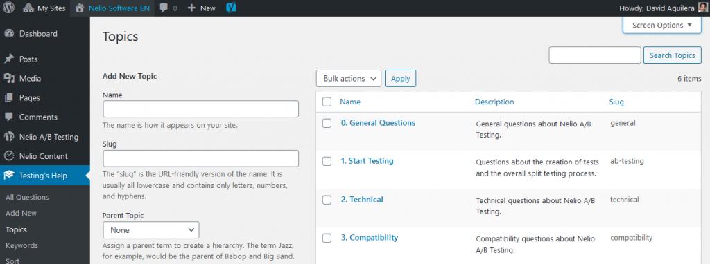 Screenshot of a custom taxonomy in the WordPress Dashboard.
