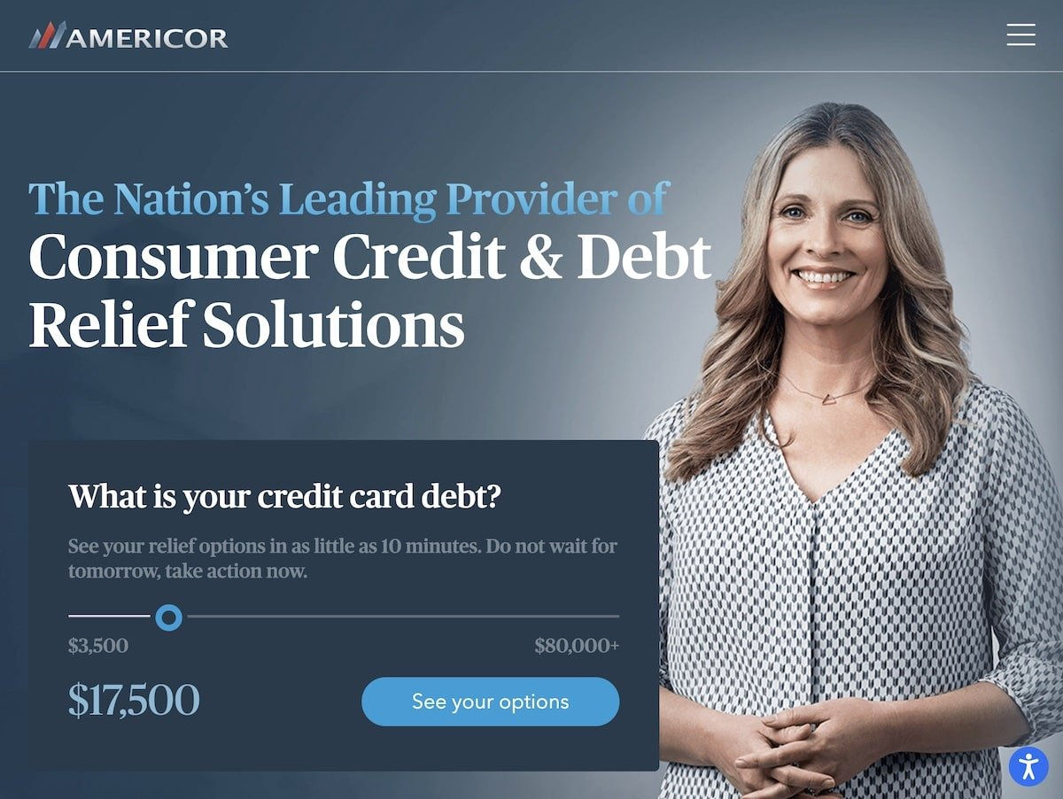 Captura de pantalla de la web de Americor Funding.