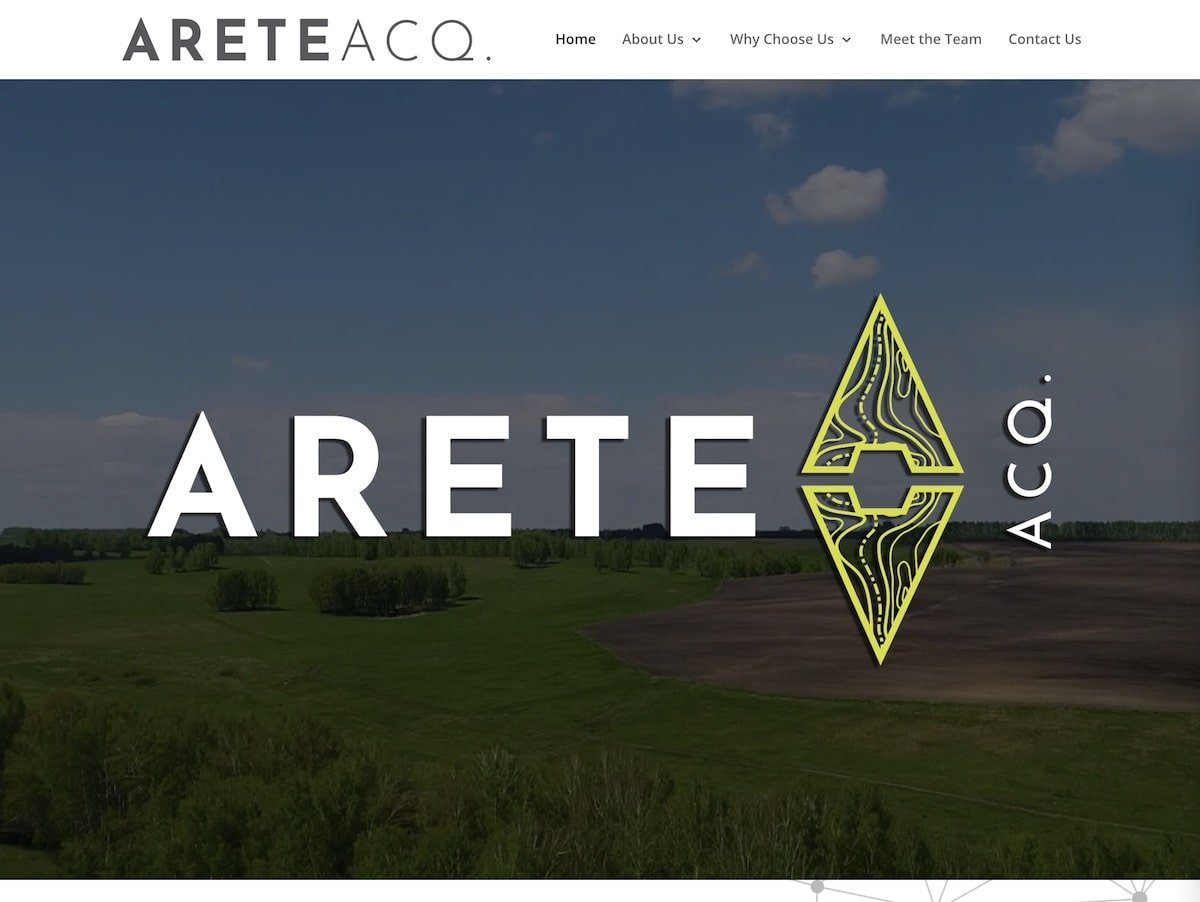 Screenshot of the Arete Acquisitions website.