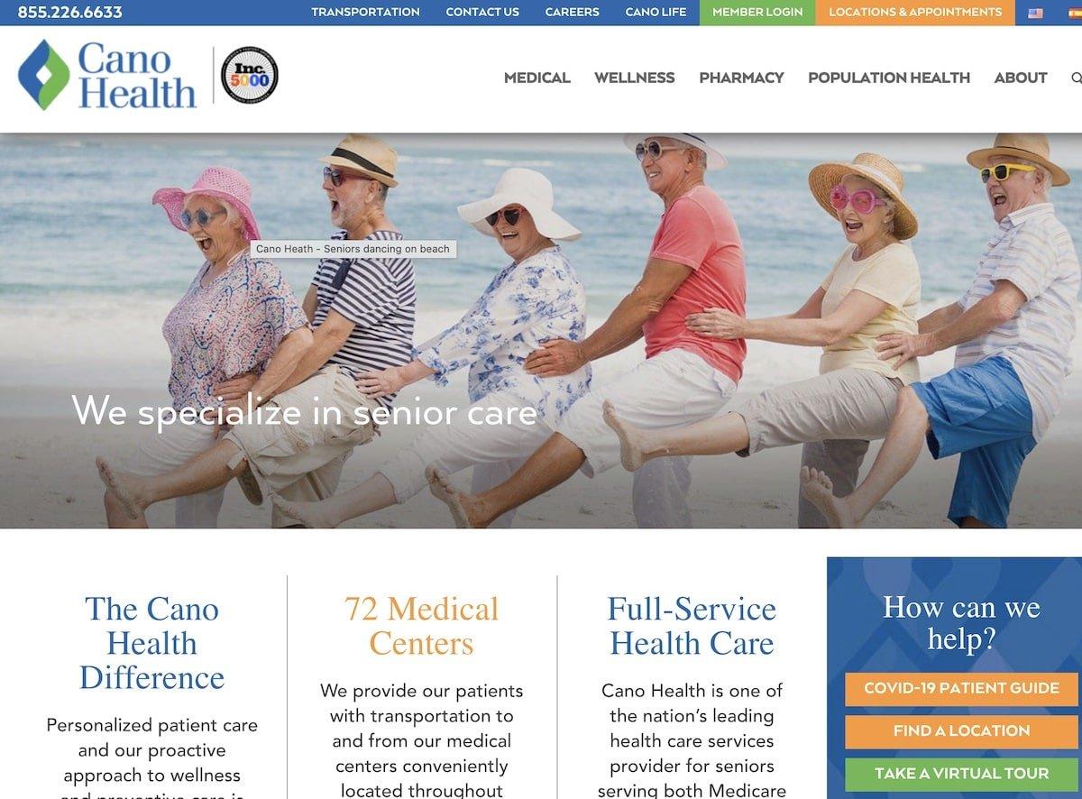 Captura de pantalla de la web de Cano Health
