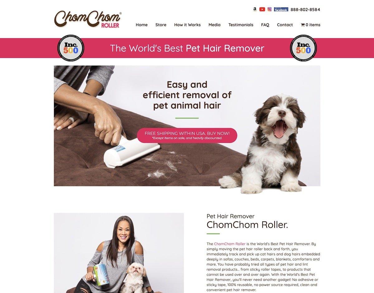 Captura de pantalla de la web de ChomChom Roller.