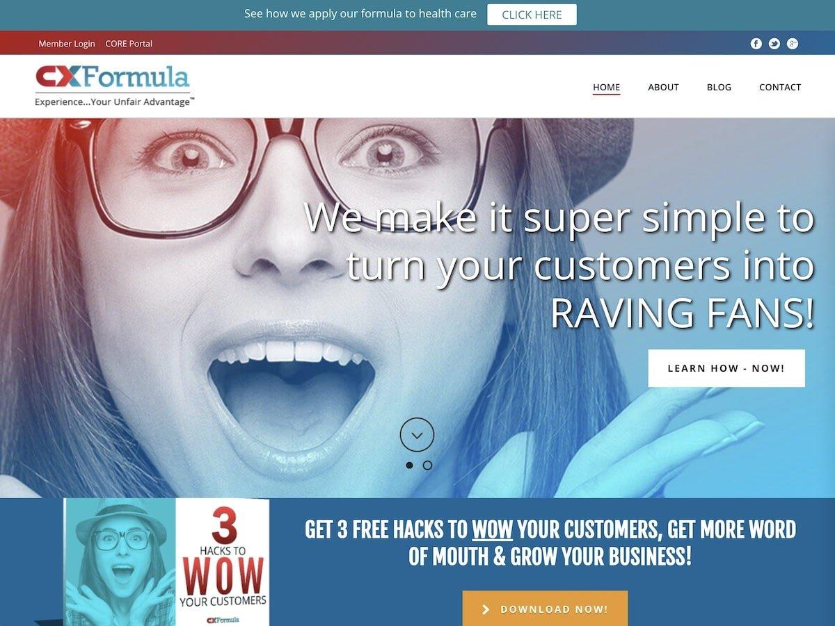 Captura de pantalla de la web de CX Formula.