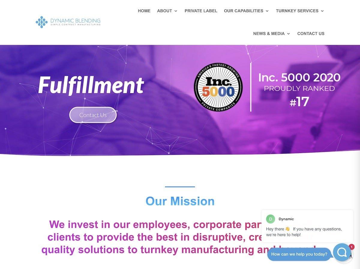 Captura de pantalla de la web de Dynamic Blending