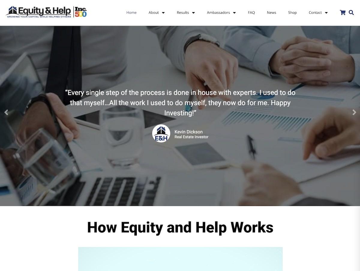 Captura de pantalla de la web de Equity & Help.