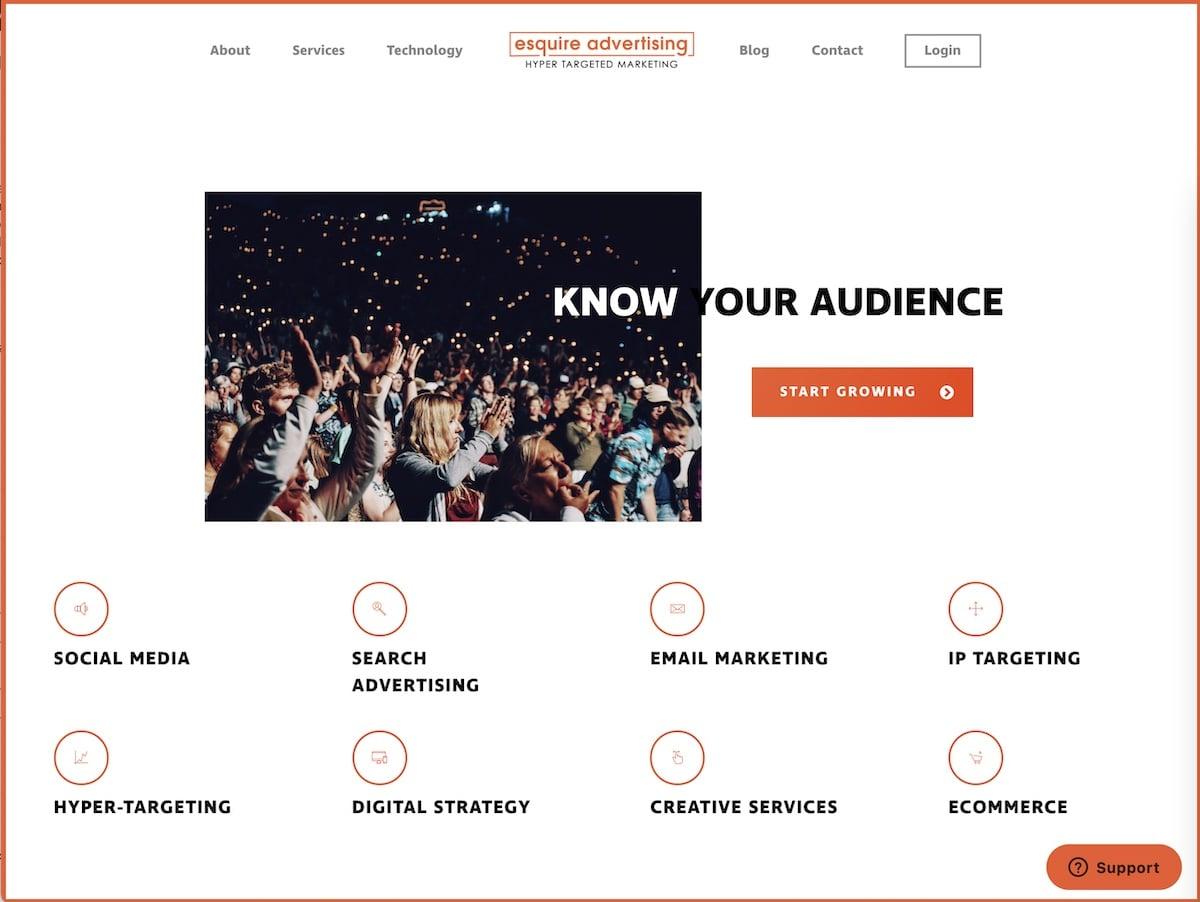 Captura de pantalla de la web de Esquire Media.