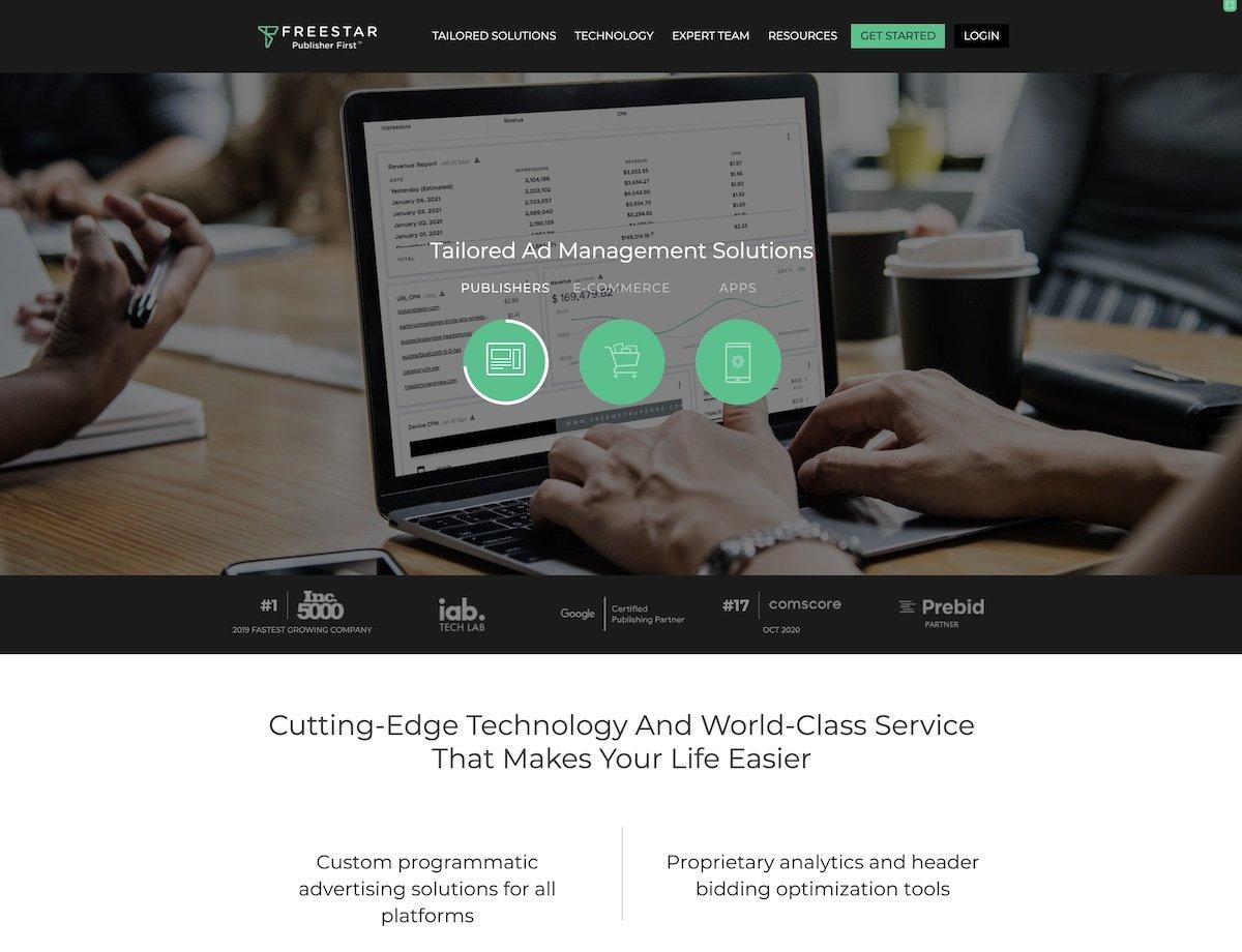 Captura de pantalla de la web de Freestar.