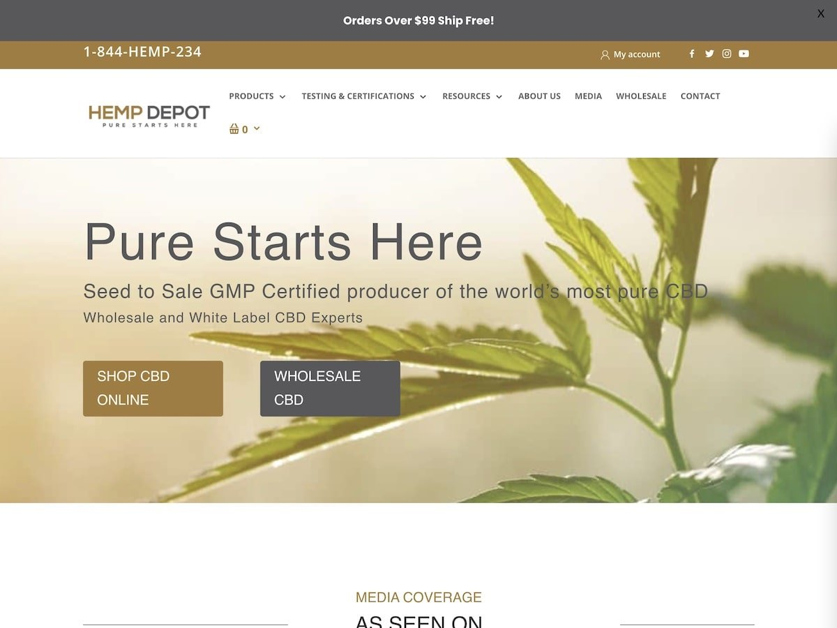 Captura de pantalla de la web de Hemp Depot.