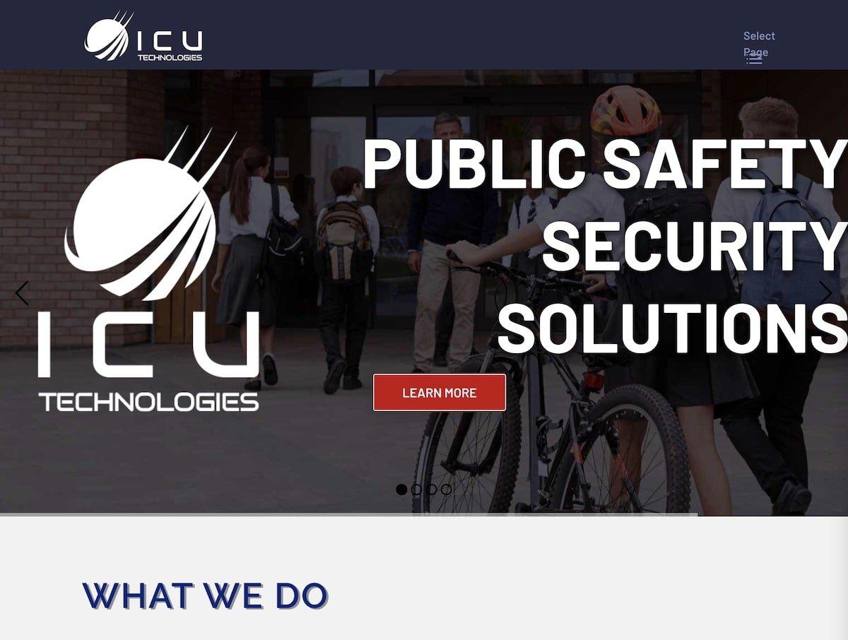 Captura de pantalla de la web de ICU Technologies.