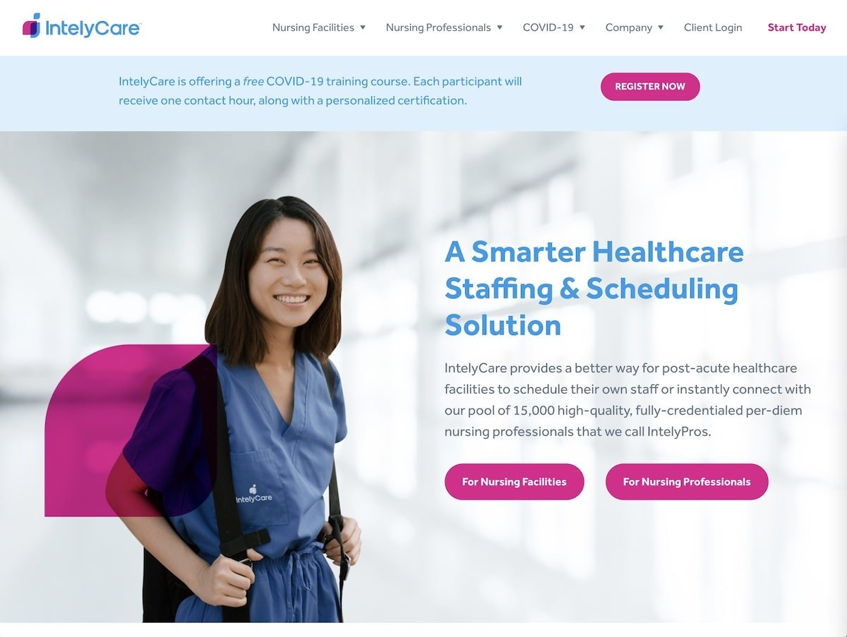 Screenshot of the IntelyCare website.