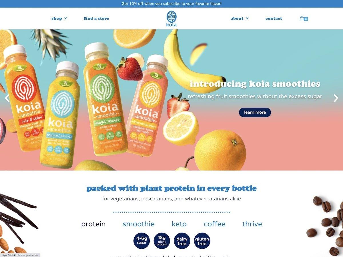 Captura de pantalla de la web de Koia.
