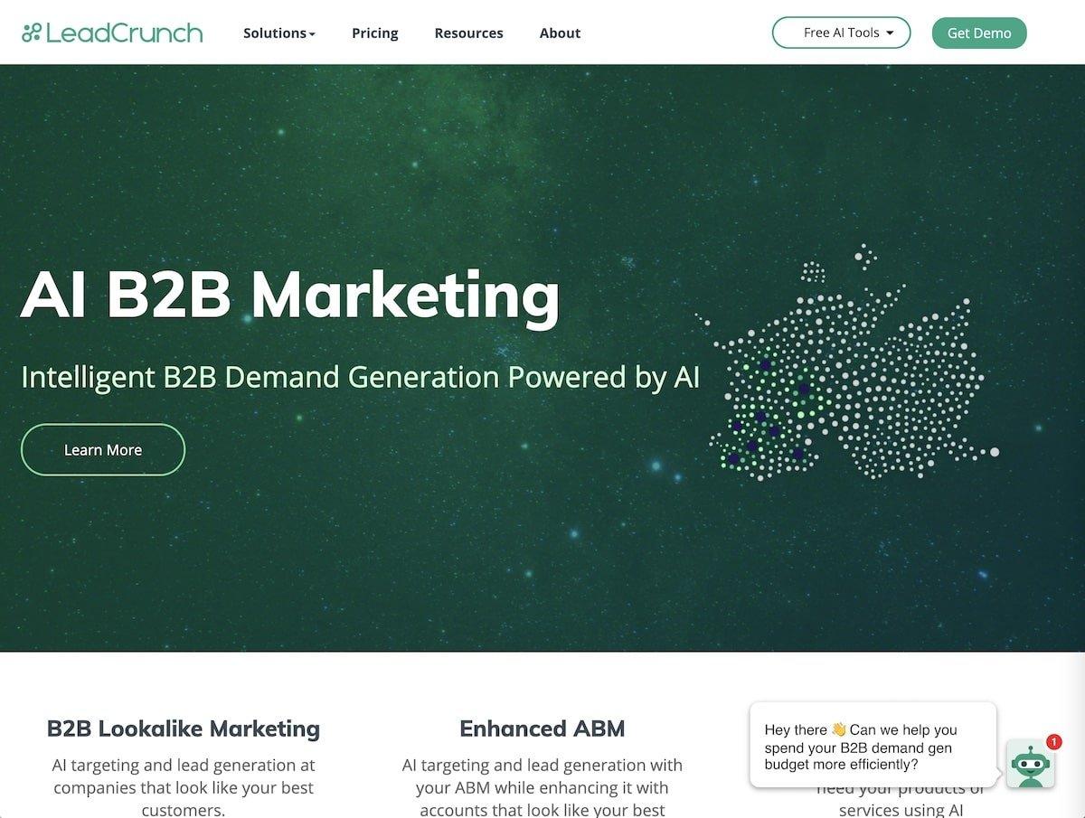 Captura de pantalla de la web de LeadCrunch.