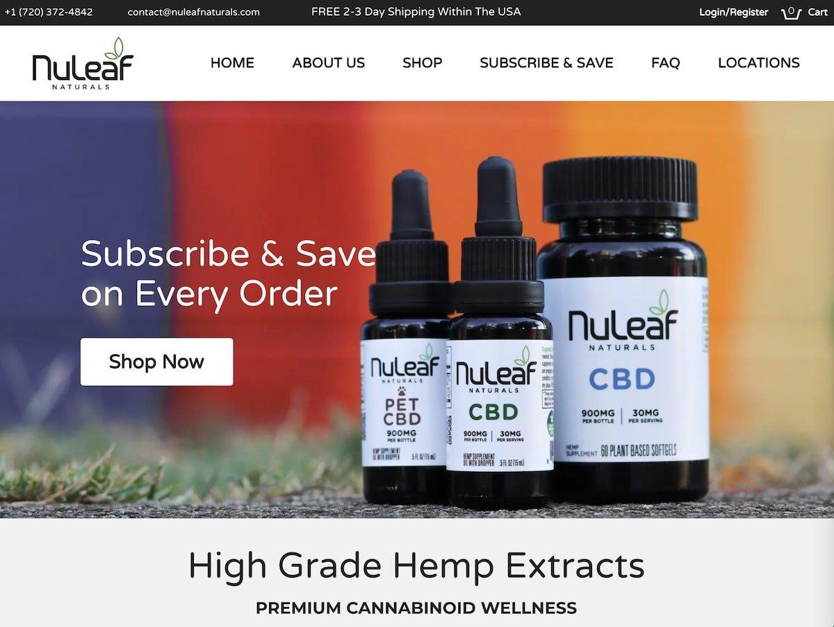 Captura de pantalla de la web de Nuleaf.