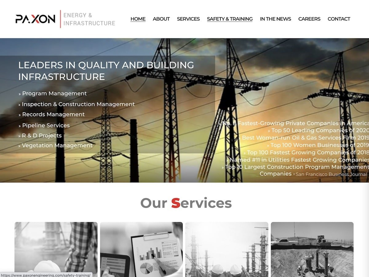 Screenshot of the Paxon Energy website.