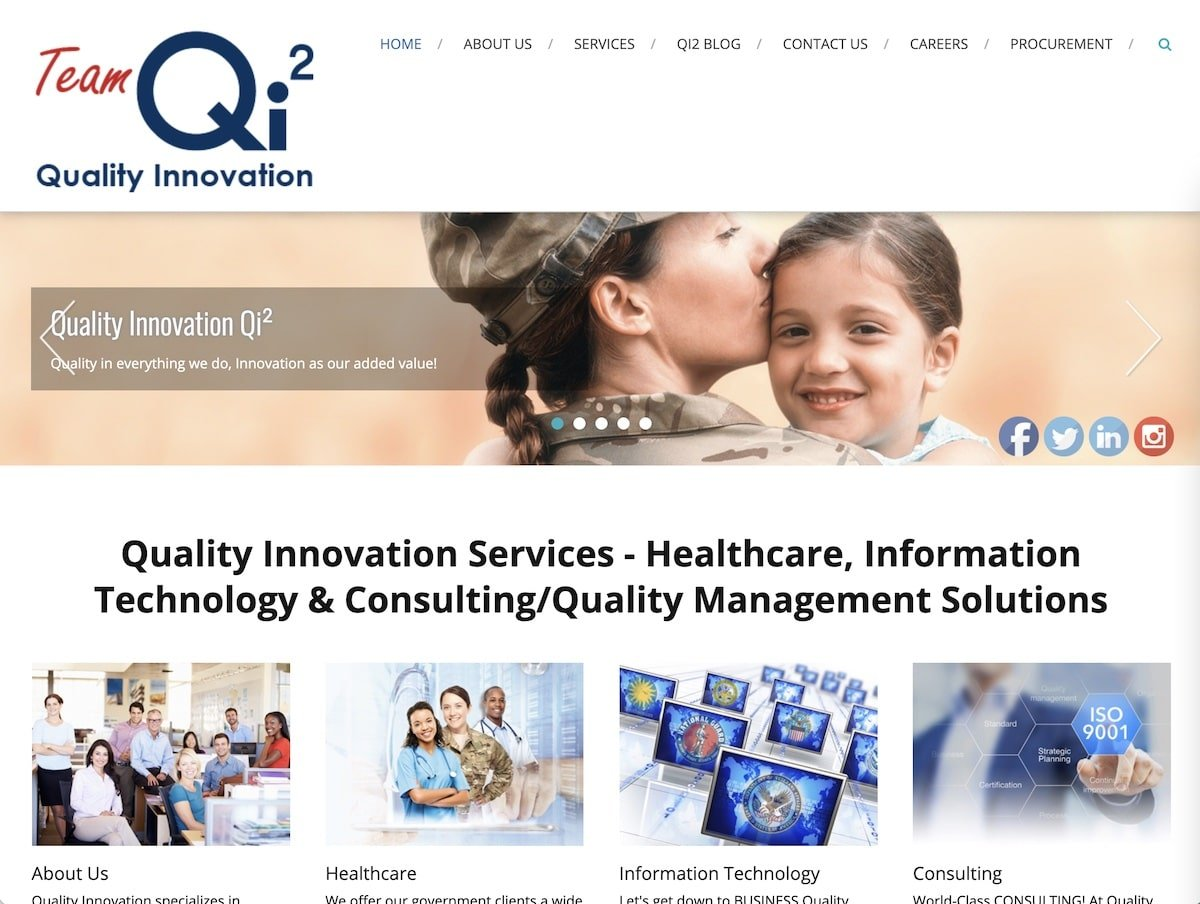 Screenshot of the Quality Innovation website.