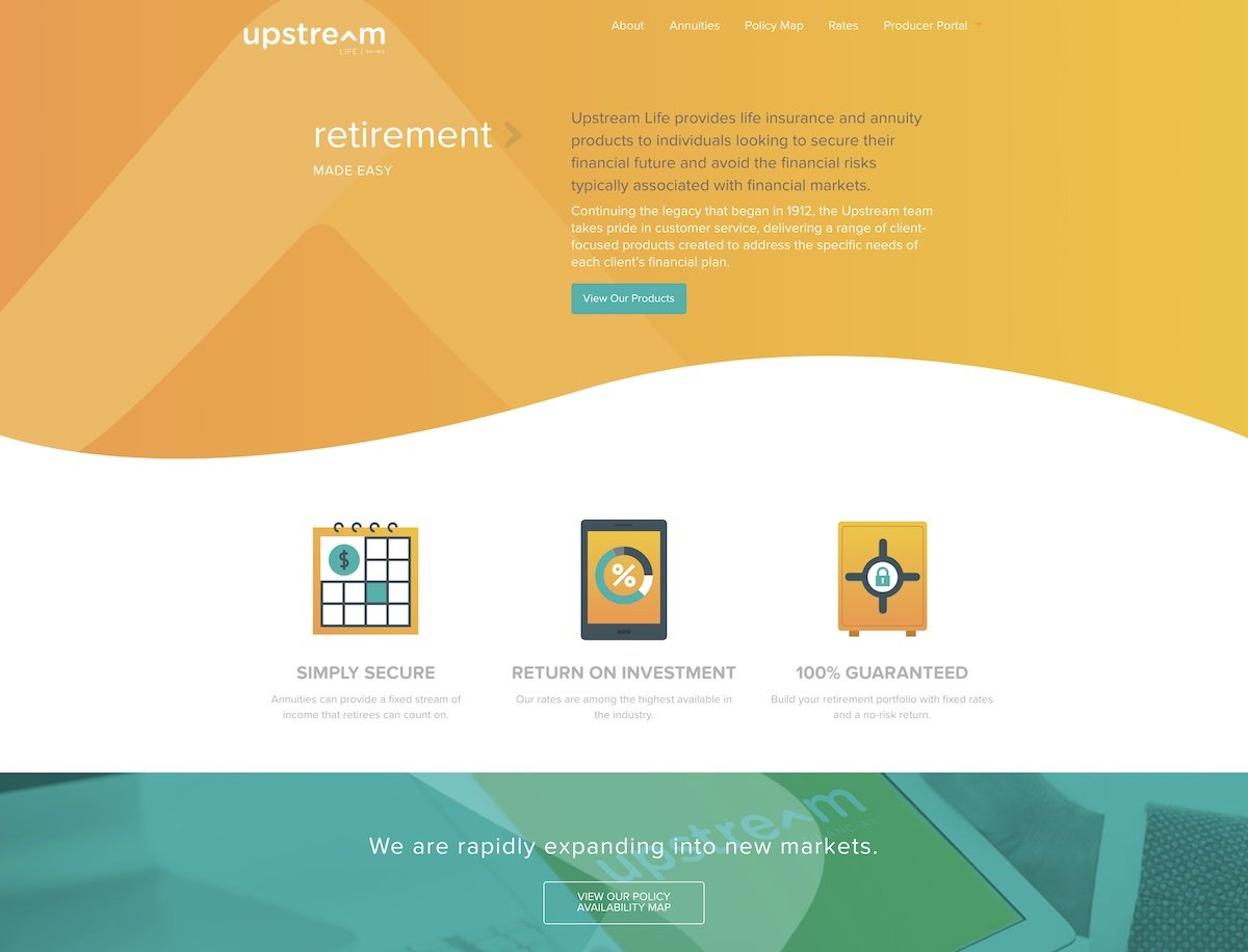 Captura de pantalla de la web de Upstream Life Insurance.