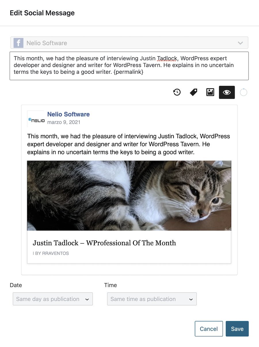 Personalize a social message with Nelio Content