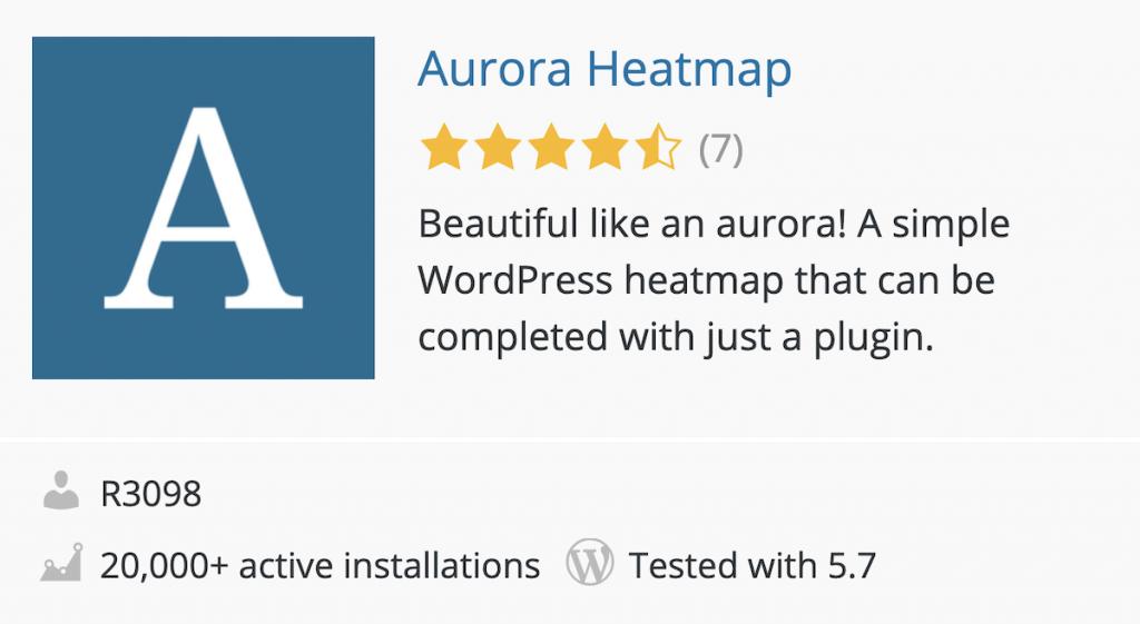 Plugin Aurora Heatmap en el directorio de WordPress