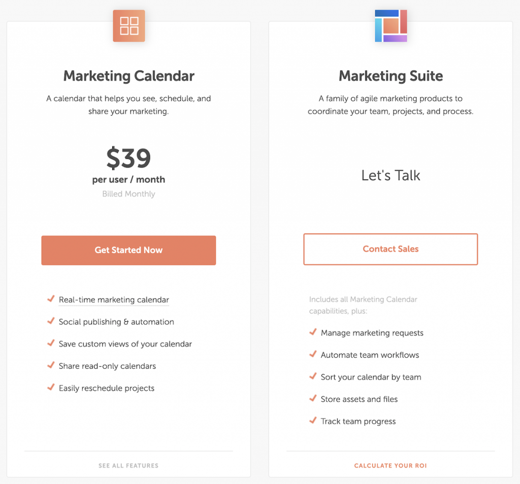 Screenshot of Coschedule plans and pricing